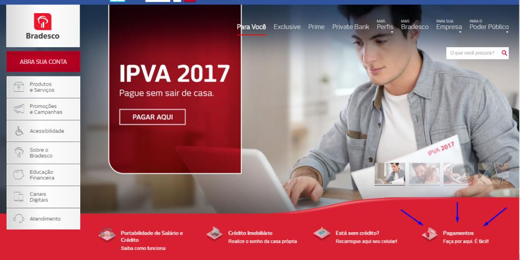 Site Bradesco - Pagamento IPVA