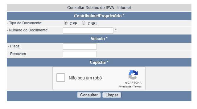 Consulta IPVA PB