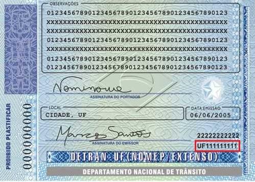 Registro Nacional de Carteira de Habilitação - Número do RENACH
